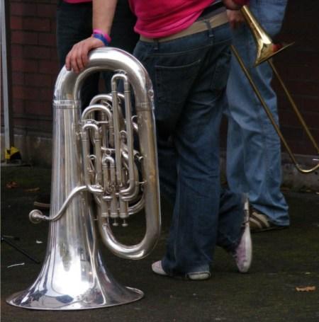 Sousaphone hanging with trombone-resized